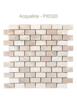 MOSAIQUE EN PIERRE MARRON/BLANC 30X30CM