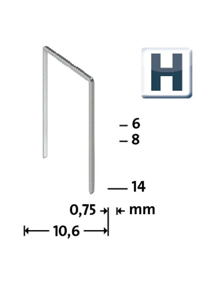Agrafes Type H 37/6 super dur, zinguee - 5000 pieces